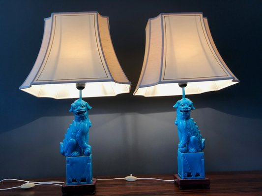 Vintage Chinese Foo Dog Table Lamps 1920s Set Of 2 For Sale At Pamono