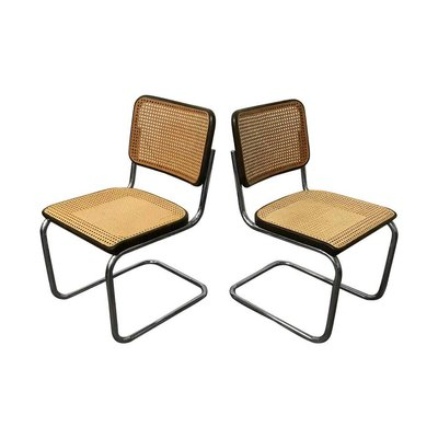 Wicker And Black Frame Model S32 Dining Chairs By Marcel Breuer For Thonet 1970s Set Of 2 For Sale At Pamono