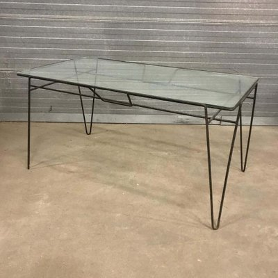 Black Metal Hairpin Legs And Glass Top Dining Table 1960s For Sale At Pamono