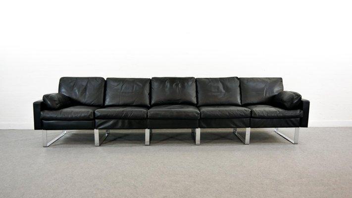Black Leather Modular Conseta Sofa