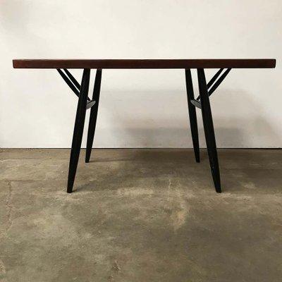 Red Brown Wooden Top Pirkka Dining Table Bench Set By Ilmari Tapiovaara For Artek 1960s Set Of 2 For Sale At Pamono