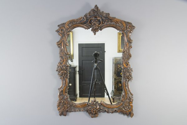 Rococo Style Carved Wood Dark Brown, Vintage Brass Rococo Wall Mirror