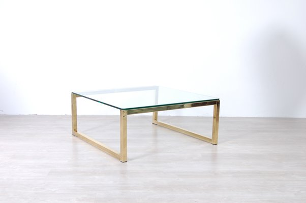 Brass Plated Metal And Glass Coffee Table 1970s Bei Pamono Kaufen