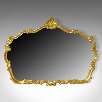 Large Vintage Rococo Style Wall Mirror, Vintage Brass Rococo Wall Mirror