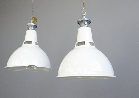 Large White Enamel Factory Ceiling Lamp From Benjamin 1950s For Sale At Pamono