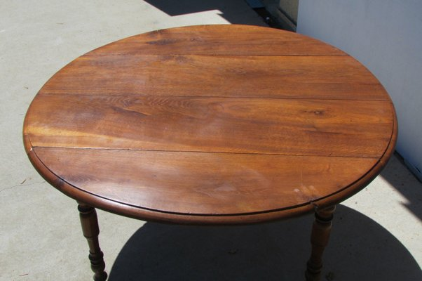 Antique Round Drop Leaf Oak Dining Table 1900s For Sale At Pamono