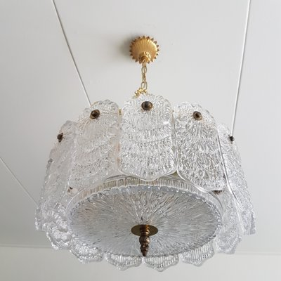 Vintage Brass Chandelier Ceiling Light Fixture Faux Crystal Italian