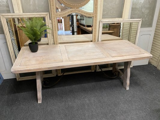 Large Spanish White Lime Waxed Solid Oak Farmhouse Dining Table For Sale At Pamono