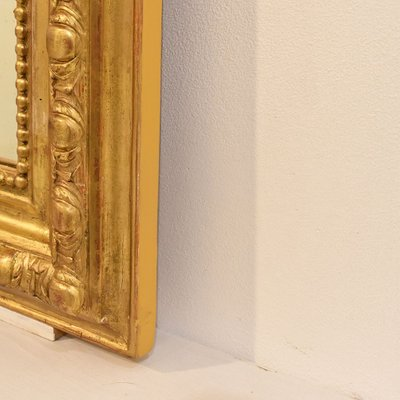 Antique Mirror with Gilded Frame & Mirror in Pure Gold Leaf, 1800s