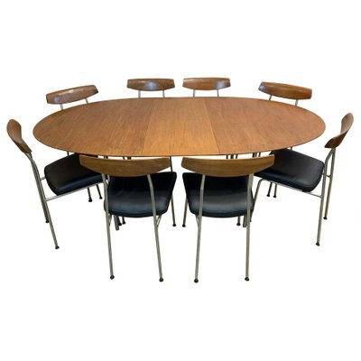 Oval Extending Dining Table 8 S230 Chairs Set By John Sylvia Reid For Stag 1960s Bei Pamono Kaufen