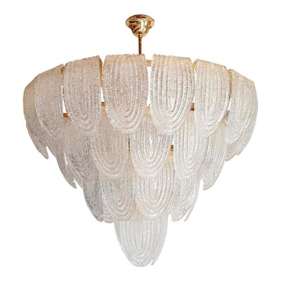 Mazzega Mid Century Modern White Murano Glass Oval Chandelier 2 Available