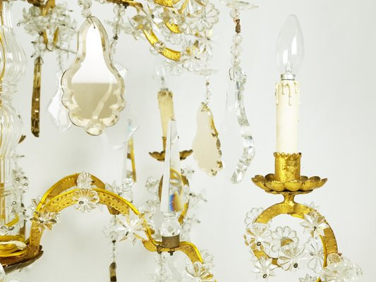 Large Italian Gold Leaf Metal And Faceted Crystal 12 Light Chandelier 1930s For Sale At Pamono