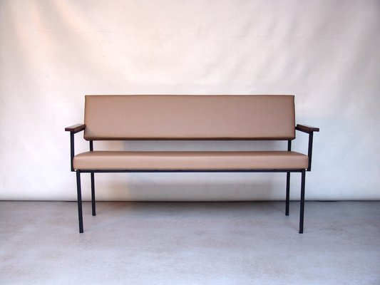 Amazing Vintage Beige Vinyl Sofa Bench Squirreltailoven Fun Painted Chair Ideas Images Squirreltailovenorg