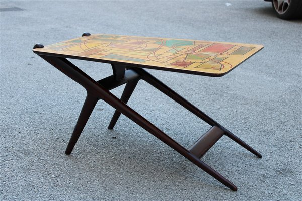 Italian Mahogany Coffee Table And Abstract Multicolor Decor Top 1950s For Sale At Pamono