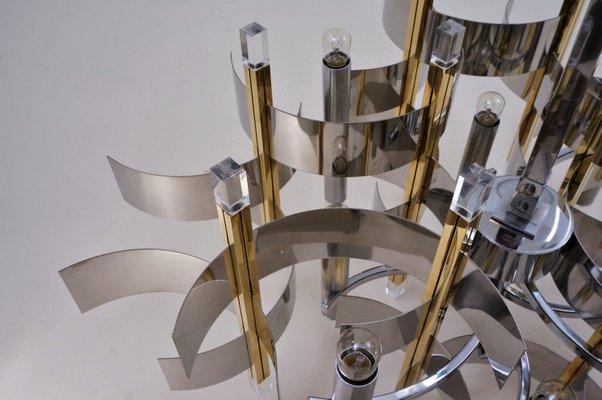 Italian Brass, Chrome and Lucite Model Futura Chandelier by Gaetano Sciolari for Sciolari, 1970s
