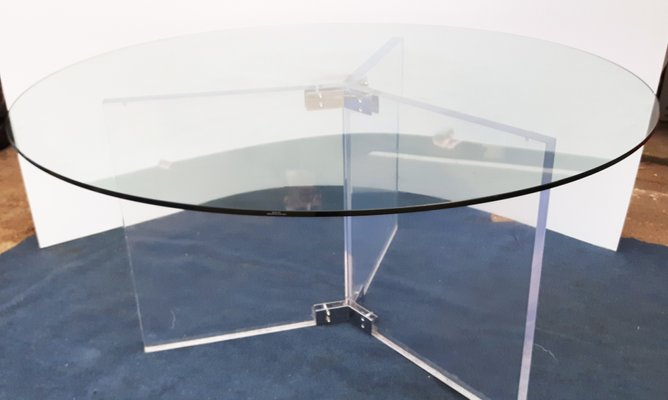 Round Glass Dining Table 1990s, Very Large Round Dining Table