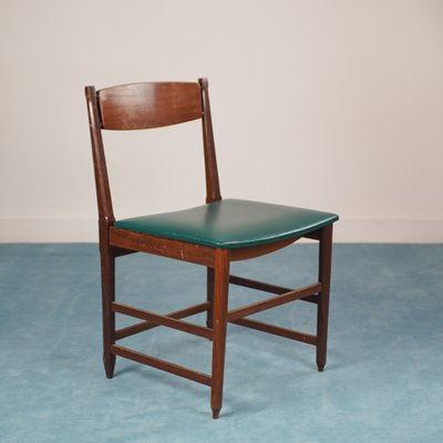 Scandinavian Green Skai And Wood Dining Chairs 1960s Set Of 6 For Sale At Pamono