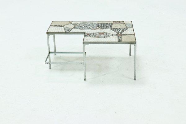 Zweistöckiger Mid Century Mosaiktisch mit Intarsien, 1960er