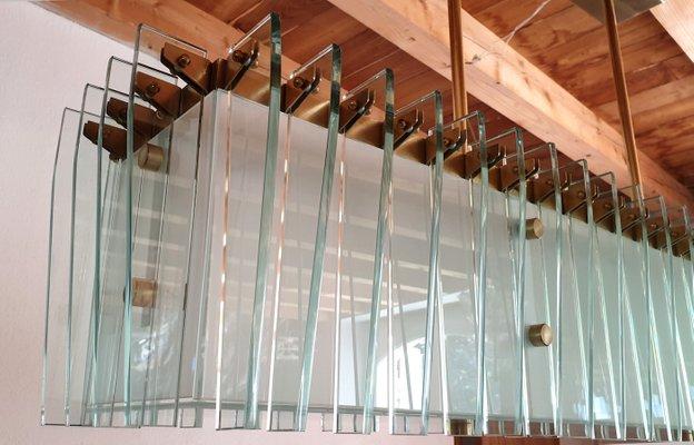 Großer Brasilianischer Mid Century Glas und Messing