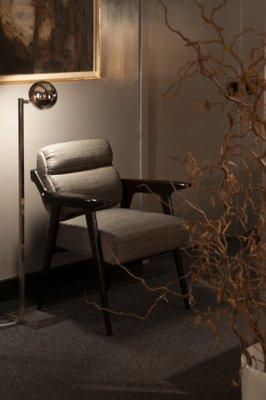 Italian Desk Chair In Ebonized Wood And