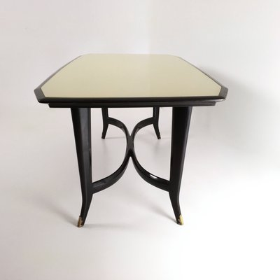 Italian Ebonized Beech Dining Table With Black Painted Glass Top 1950s For Sale At Pamono
