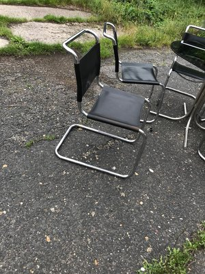 Italian Bauhaus Style Chrome Smoked Glass Dining Table Chairs In The Style Of Mart Stam 1960s Set Of 6 For Sale At Pamono