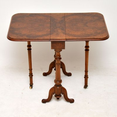 Antique Burr Walnut Drop Leaf Side Table Bei Pamono Kaufen