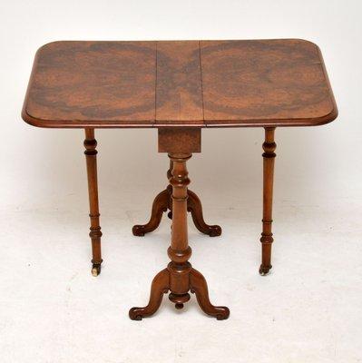 Antique Burr Walnut Drop Leaf Side Table Bei Pamono Kaufen