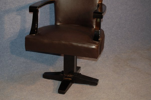 Art Deco Black Lacquered Wood And, Black Desk Chairs