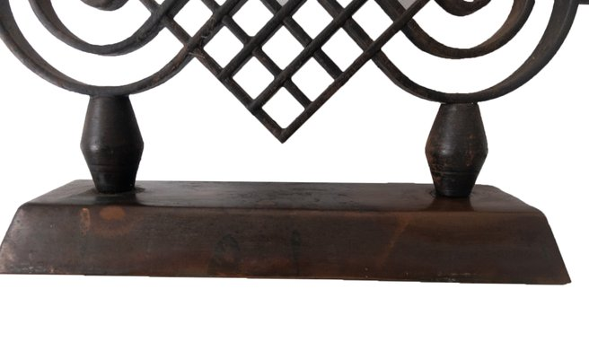 French Art Deco Wrought Iron Candleholder By Gilbert Poillerat 1940s For Sale At Pamono