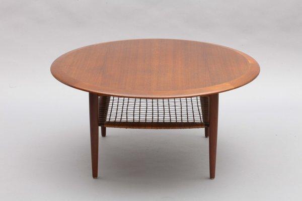 Round Teak Coffee Table By Johannes, Round Teak Coffee Table