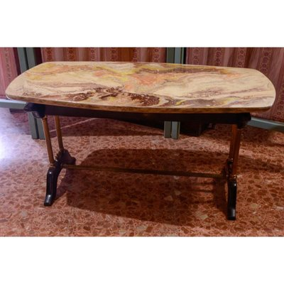 Vintage Coffee Table With Faux Marble Top 1960s For Sale At Pamono