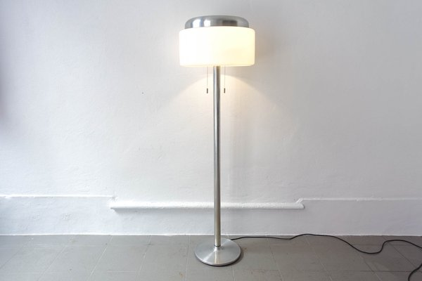 Brushed Aluminum and White Floor Lamp, 1970s