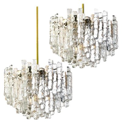 Large Modern 3 Tier Brass and Ice Glass Chandeliers by J.T. Kalmar, 1960s, Set of 2