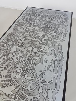 Vintage Acid Etched Coffee Table by Bernhard Rohne, 1960s