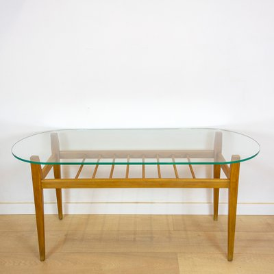 Mid Century Israeli Wood And Glass, Coffee Tables Glass And Wood