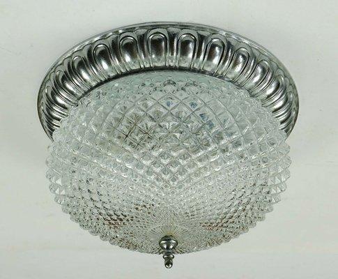Mid Century Glass and Aluminum Ceiling Lamp from Sölken Leuchten, 1970s