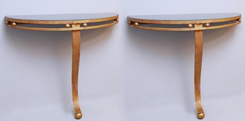Wrought Iron Gold And Black Glass Top Half Moon Wall Consoles 1970s Set Of 2 For Sale At Pamono