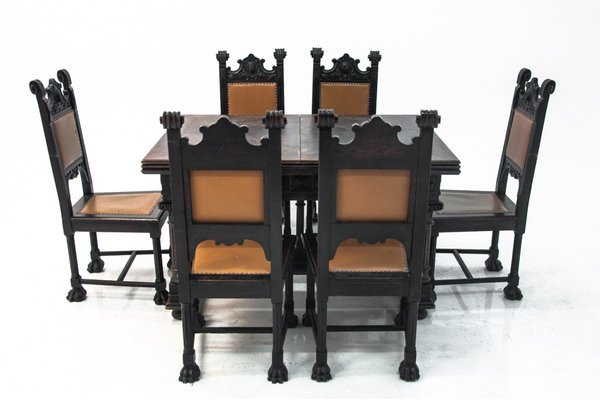 Antique Renaissance Style Dining Table, Vintage Dining Room Furniture