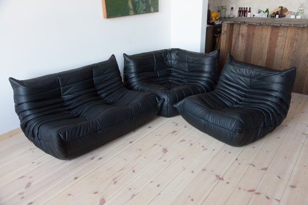 Black Leather Togo Corner Armchair, Armchair, and 2 Seater Sofa Set by Michel Ducaroy for Ligne Roset, 1970s