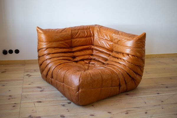 Dubai Pine Leather Togo Corner Armchair, Armchair, And 2-Seater Sofa Set By Michel Ducaroy For Ligne Roset, 1970s For Sale At Pamono