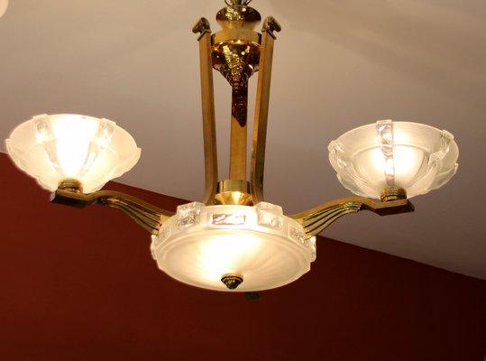 1930s ART NOUVEAU SOLID BRASS CHANDELIER W GLASS SHADES 3
