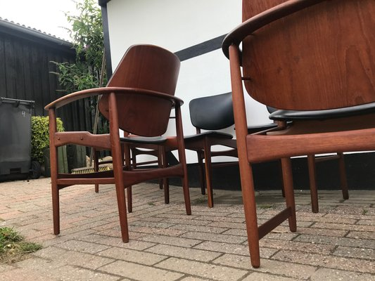 King Queen Dining Chairs In Teak By Arne Hovmand Olsen For Jutex 1950s Set Of 6 For Sale At Pamono