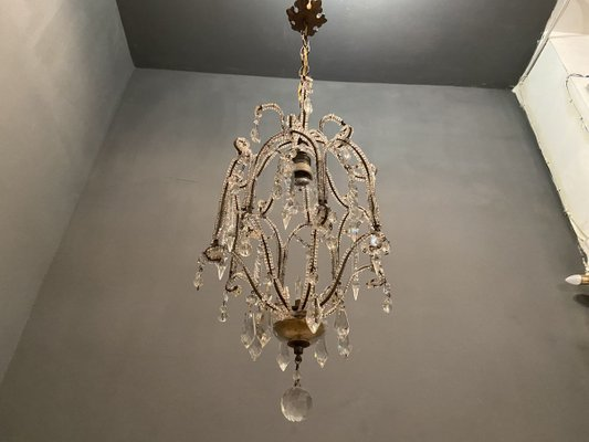 Vintage Crystal Beaded Chandelier 1950s For Sale At Pamono