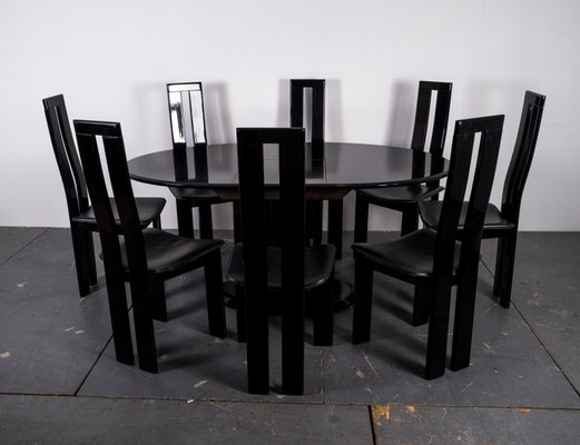 Mid Century Black Dining Room Chairs Table Set For Sale At Pamono