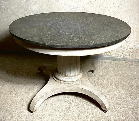 Early 19th Century Swedish Round Center Or Small Dining Table With Faux Marble Top Bei Pamono Kaufen