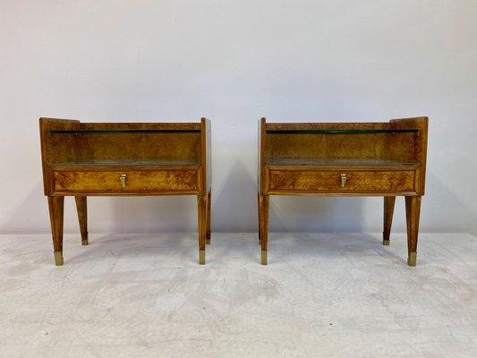Mid Century Italian Bedside Tables in Burl Wood, 1950s, Set of 2