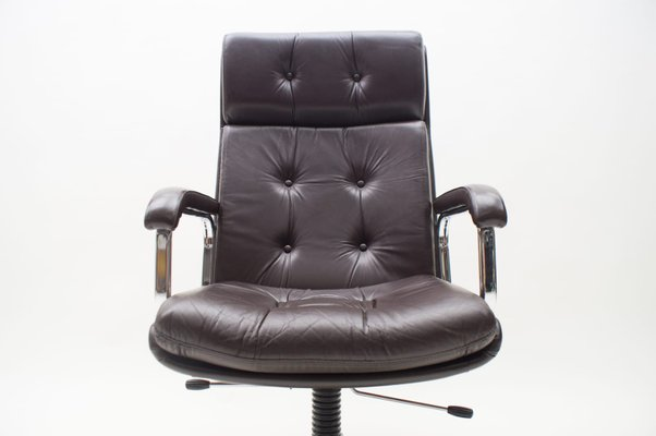 Italian Brown High Back Leather Office Chair 1970s Bei Pamono Kaufen