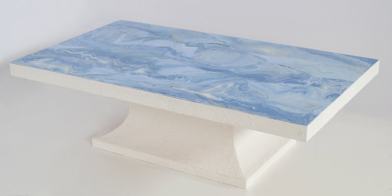 Light Blue Coffee Table With Marble Scagliola Decorated Top White Wooden Base Handmade In Italy From Cupioli For Sale At Pamono