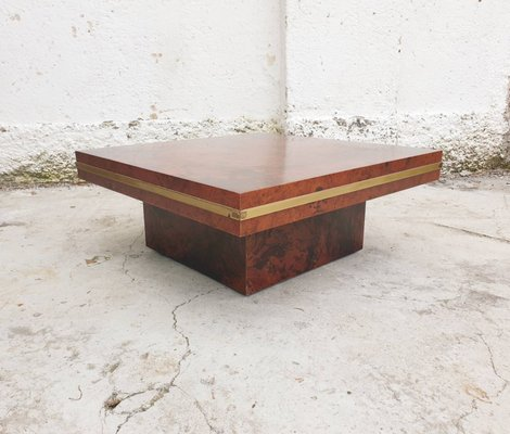 Mid Century Coffee Table In Burl Wood Attributed To Mario Sabot Italy 1968 For Sale At Pamono